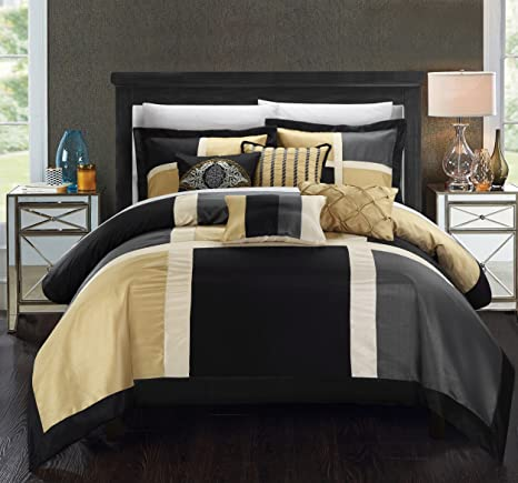 Amazon Com Chic Home Aletta 7 Piece Comforter Contemporary Patchwork Solid Color Block Pattern Design Complete Bedding Set Decorative Pillows Shams Included King Black Home Kitchen