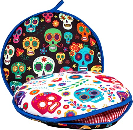"""Largest! TWO SIDED Tortilla Warmer, 12"""" Insulated and Microwaveable, Fabric Pouch Keeps Them Warm for up to One Hour! Perfect Holder for Corn & Flour, ..."""