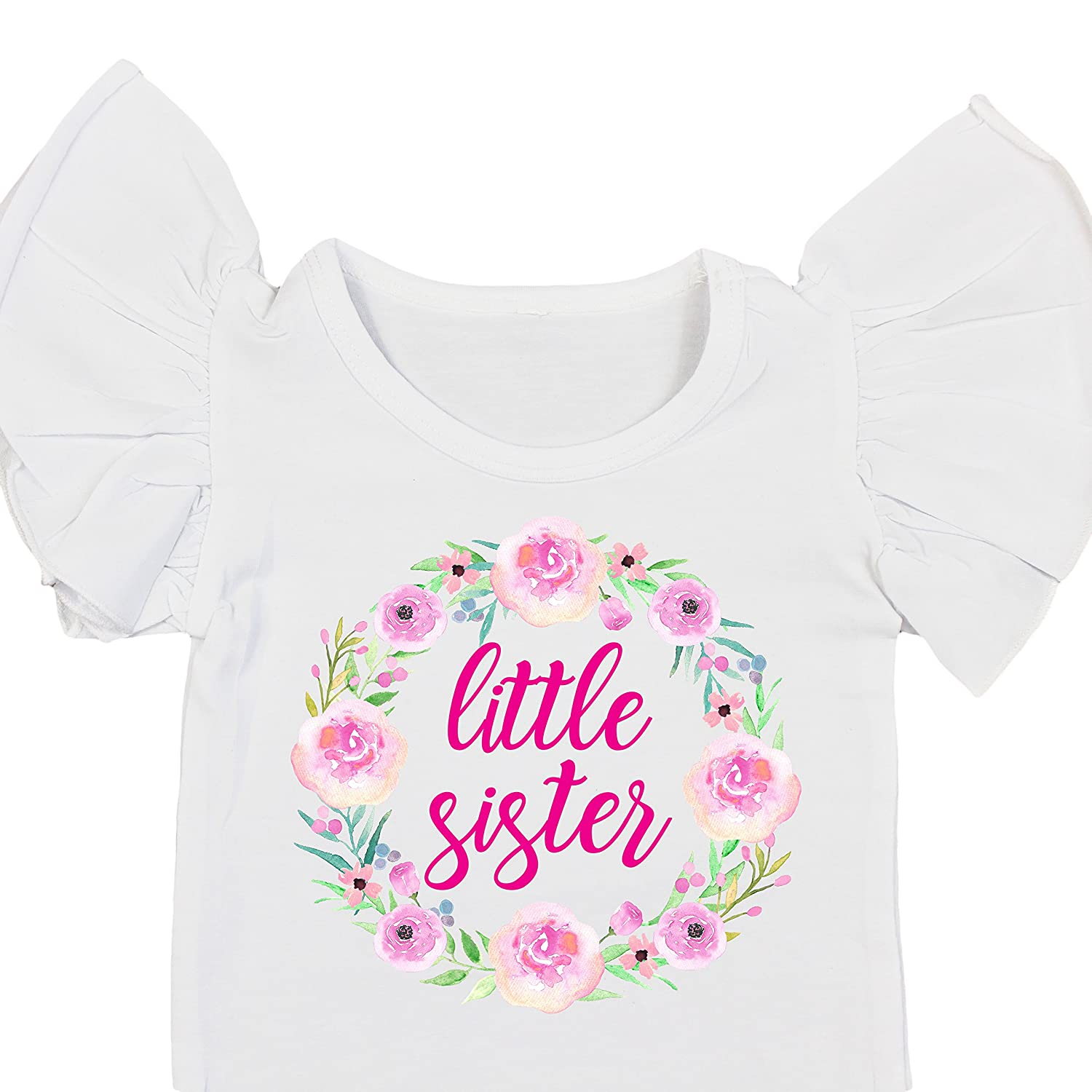 b09b9869a Amazon.com: Olive Loves Apple Little Sister Newborn Outfit Flutter Sleeve  Bodysuit Matching Sibling Announcement Outfit: Clothing