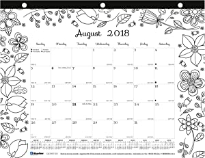 Blueline 2018-2019 DoodlePlan Academic Coloring Desk Pad Calendar, Garden Designs, August 2018 to July 2019, 11 x 8.5 inches (CA2917213-19)