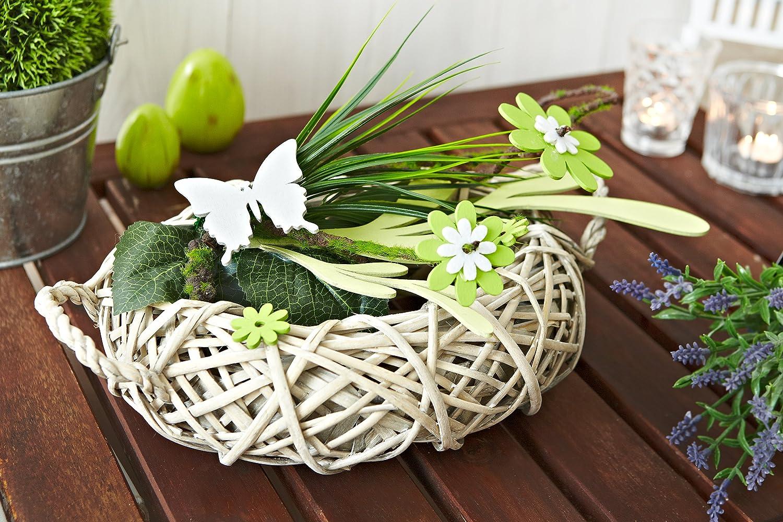 Heitmann DECO   Rattan Tischdeko Mit Holz Blumen, Schmetterling Und Deko Gras    Tischdeko Für Frühling Und Ostern 62899