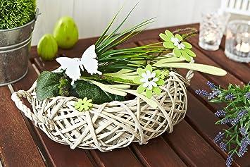 Tischdeko holz blumen  Amazon.de: Heitmann Deco 62899 Rattan-Tischdeko mit Holz-Blumen ...