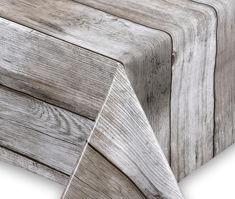 Wachstuch Tischdecke abwischbar rutschfest Meterware, glatt Holz beige, Größe wählbar (eckig 2000 x 140 cm)