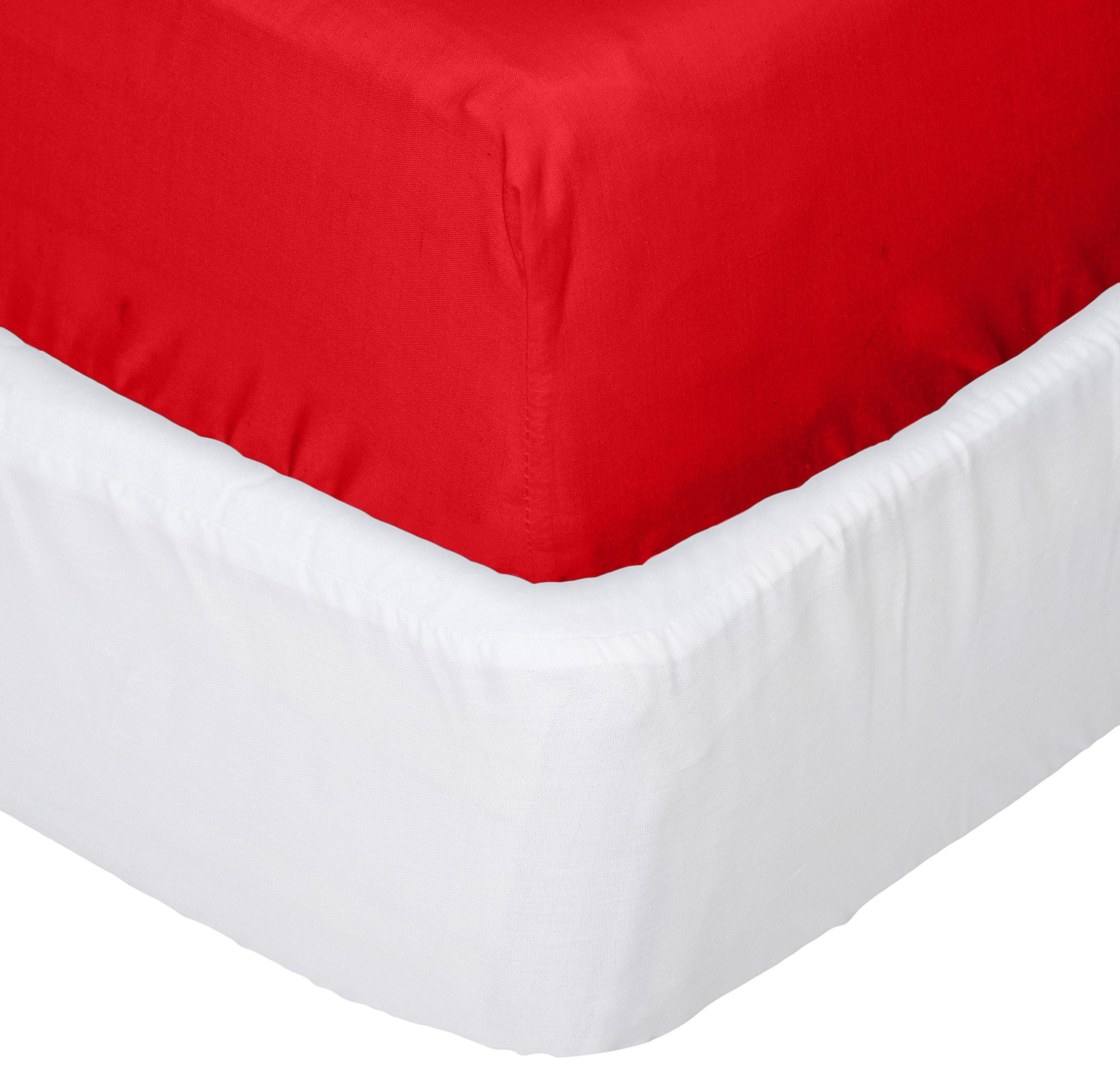 aBaby Crib Mattress Protector and Sheet Combo, Red