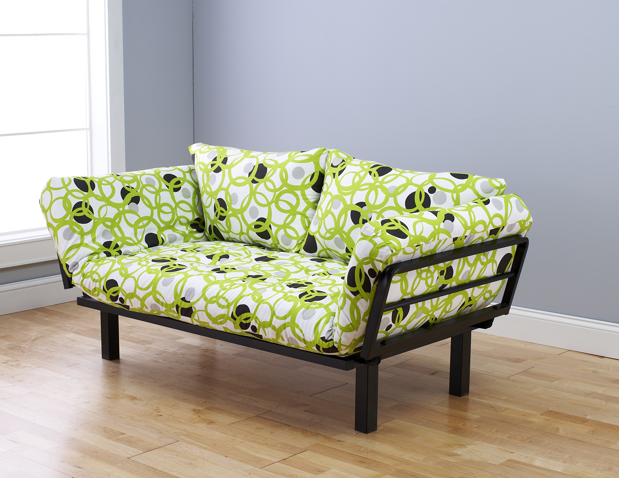 """Futon Sofa Lounger Couch and Daybed or Twin Bed Size with 6"""" Mattress. Bright Green Circle Cover Is Perfect for Smaller Bedroom, Studio Apartment, Guest Room, Covered Outdoor Porch or Patio. This Is the Best Piece of Furniture Anywhere in Your Home or O"""