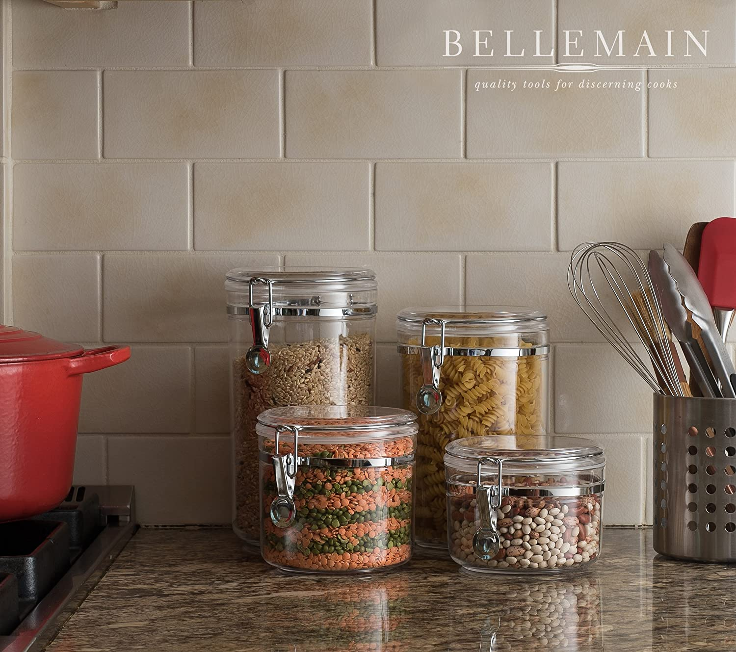 Acrylic Food Storage Containers Part - 39: Amazon.com: Bellemain 4 Piece Airtight Acrylic Canister Set , Food Storage  Container: Kitchen U0026 Dining