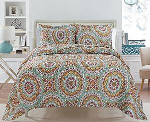 3 Piece Quilt Set Bedspread Set King Reversible Eiffel Love BRIA Quilt Collection