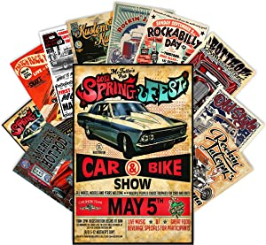 HK Studio Vintage Posters of Classic Car | Self-Adhesive, Vinyl Decal, Indie Posters for Room Aesthetic 90s | Retro Car Poster for Wall Collage Kit | Old School, Vintage Car Poster, 7.8