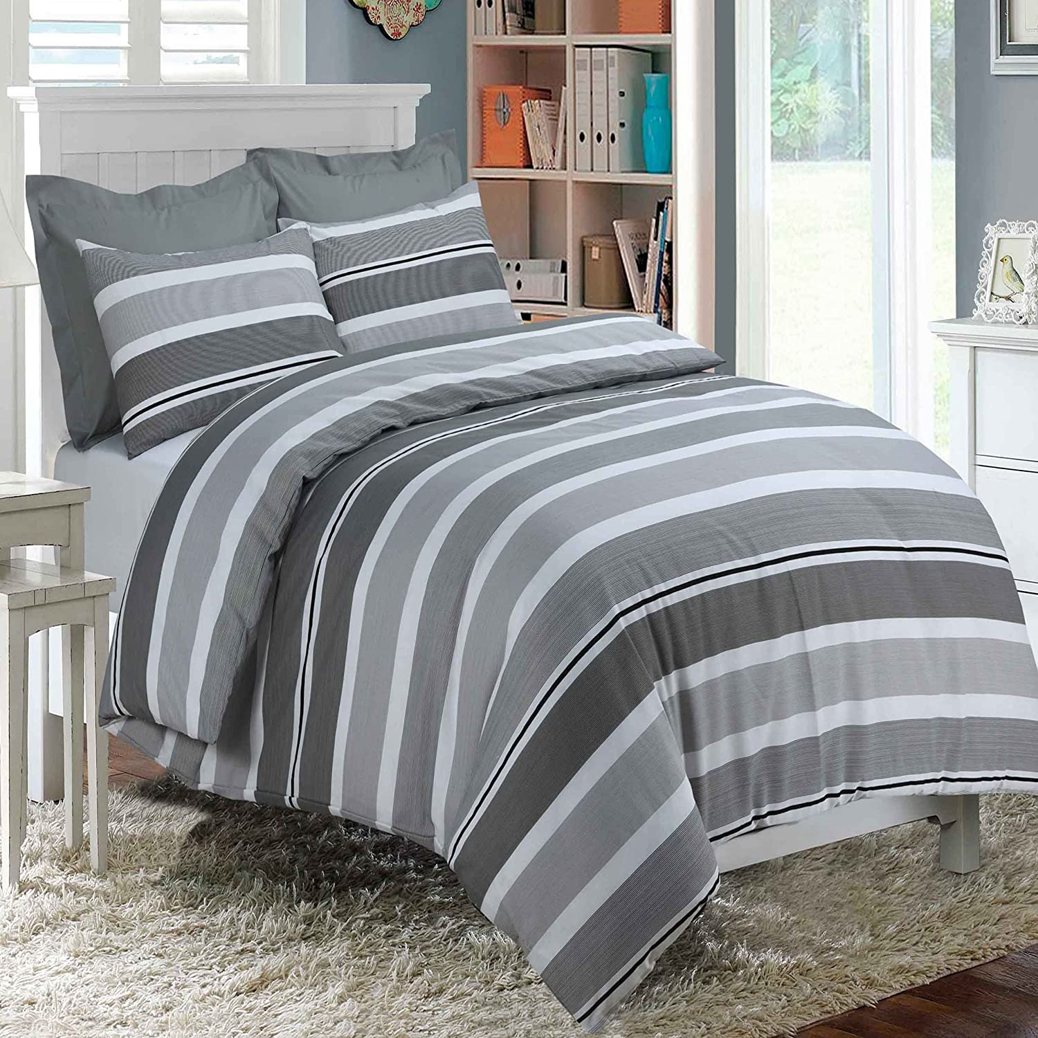 Banded Stripe Grey Duvet Cover With Pillowcases Quilt Cover Bedding Set All Size