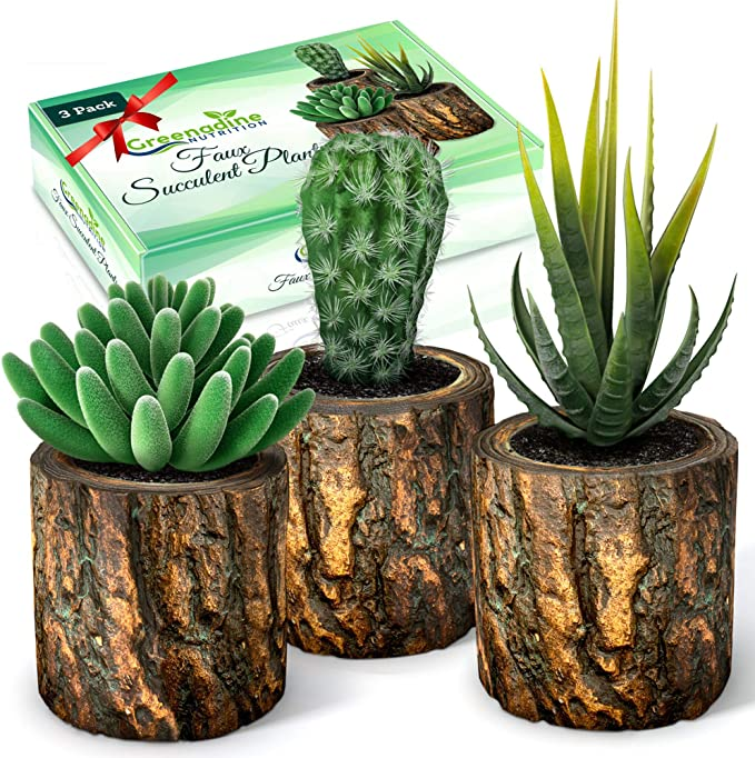 FEPITO 5 Pcs Artificial Succulent Plants with 2 Pcs Plant Hangers,Faux Succulents Artificial Large Cactus Aloe Echeveria with Gray Pots Hanging Stems Bulk for Home Indoor Decoration