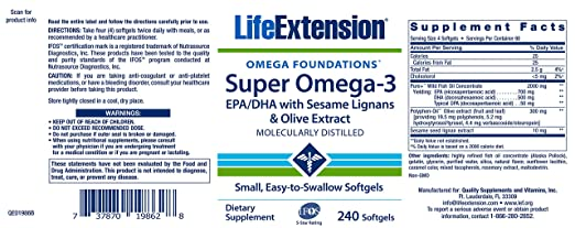 Life Extension, Super Omega-3, EPA/DHA with Sesame Lignans & Olive Fruit Extract, 240 Softgels: Amazon.es: Salud y cuidado personal