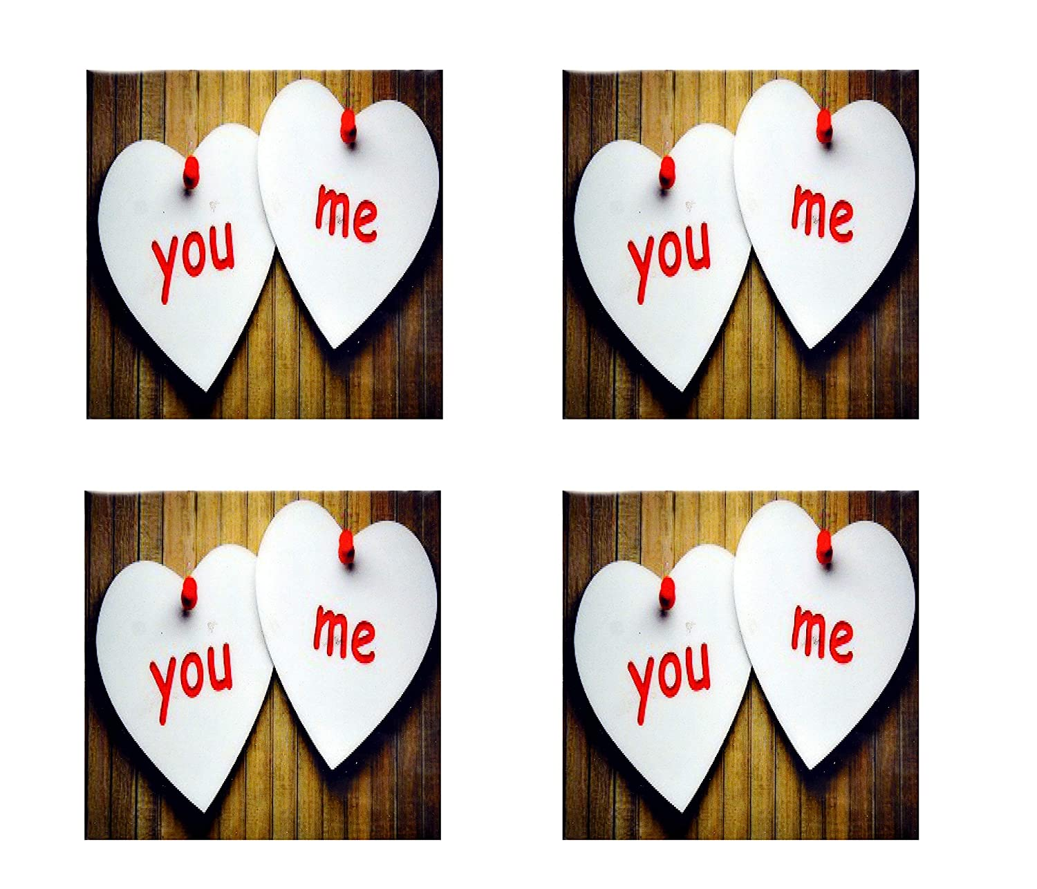 Bar//Dining Accessories Beverage Love Coasters Set of Round Personalized Drink Coasters Multi-Colored Printed Wooden Round, Pack of 4