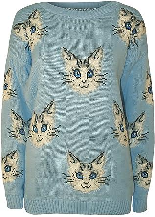 WearAll - Damen Katze Tier Muster Langarm Gestrickt Pullover Top - 3 ...