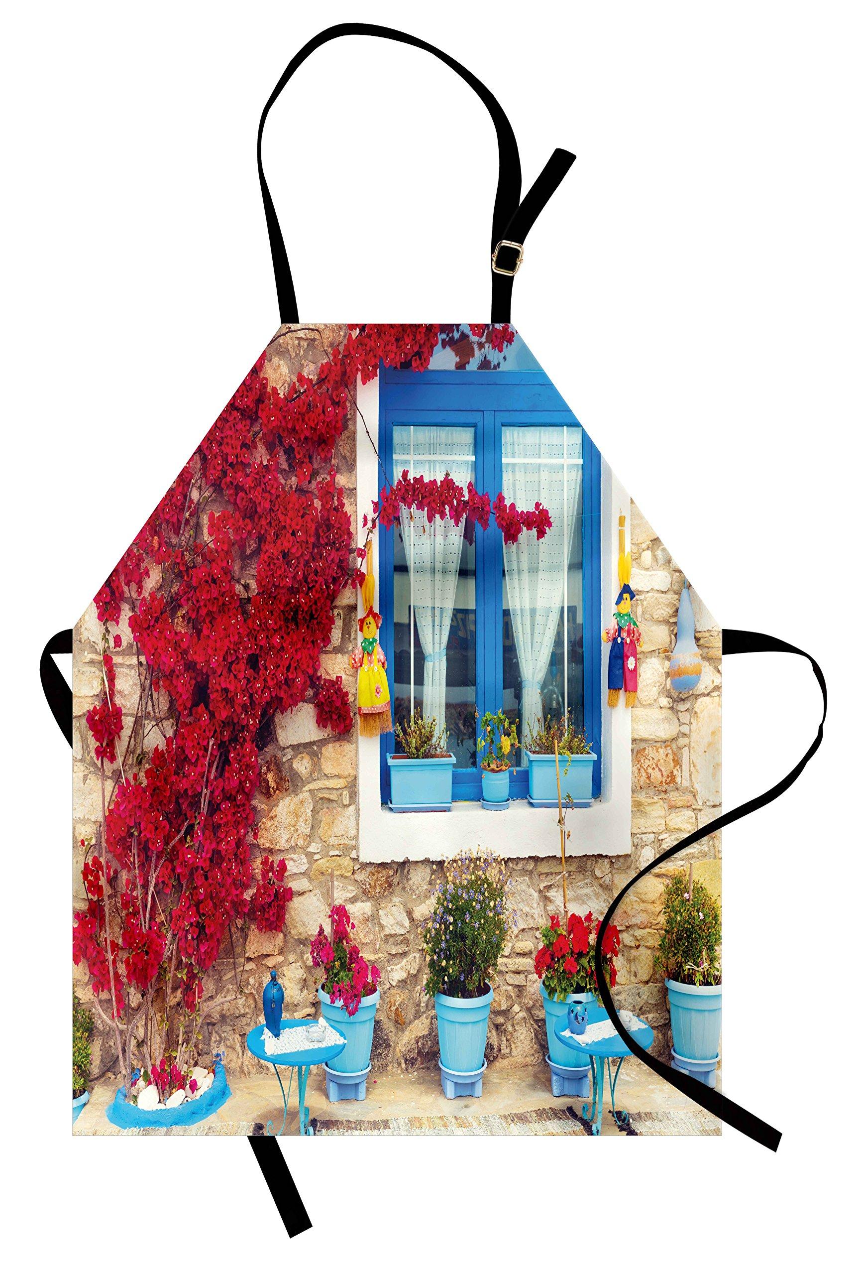Ambesonne Coastal Apron, Italian Design Mediterranean House with Greek Windows Print, Unisex Kitchen Bib Apron with Adjustable Neck for Cooking Baking Gardening, Pale Brown White and Navy Blue