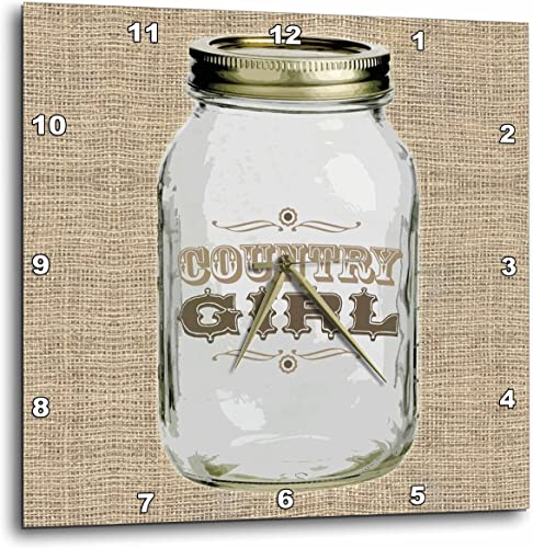 3dRose DPP_165874_2 Mason Jar on Burlap Country Girl in Brown Wall Clock, 13 by 13