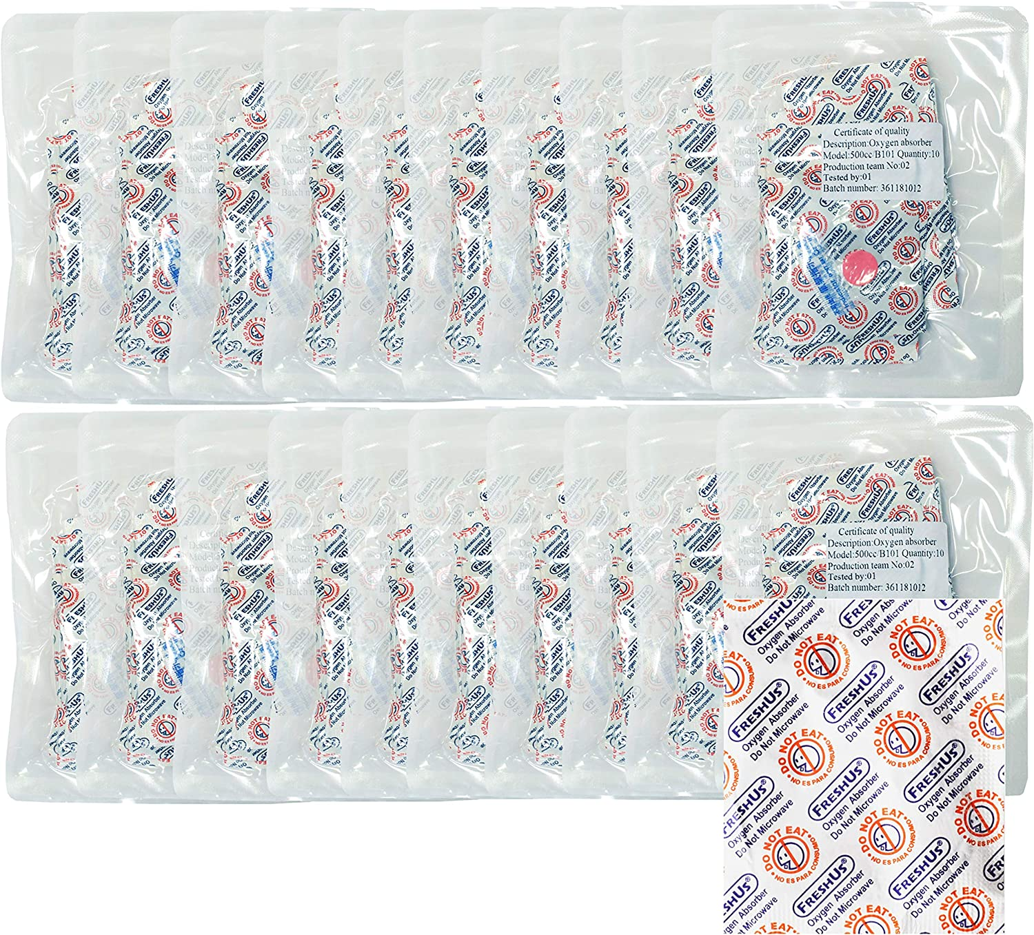 FreshUS 500cc Oxygen Absorber(20 Individual Packs of 10 Packet, Total 200 Packets) - Long Term Food Storage (200, 500 CC)