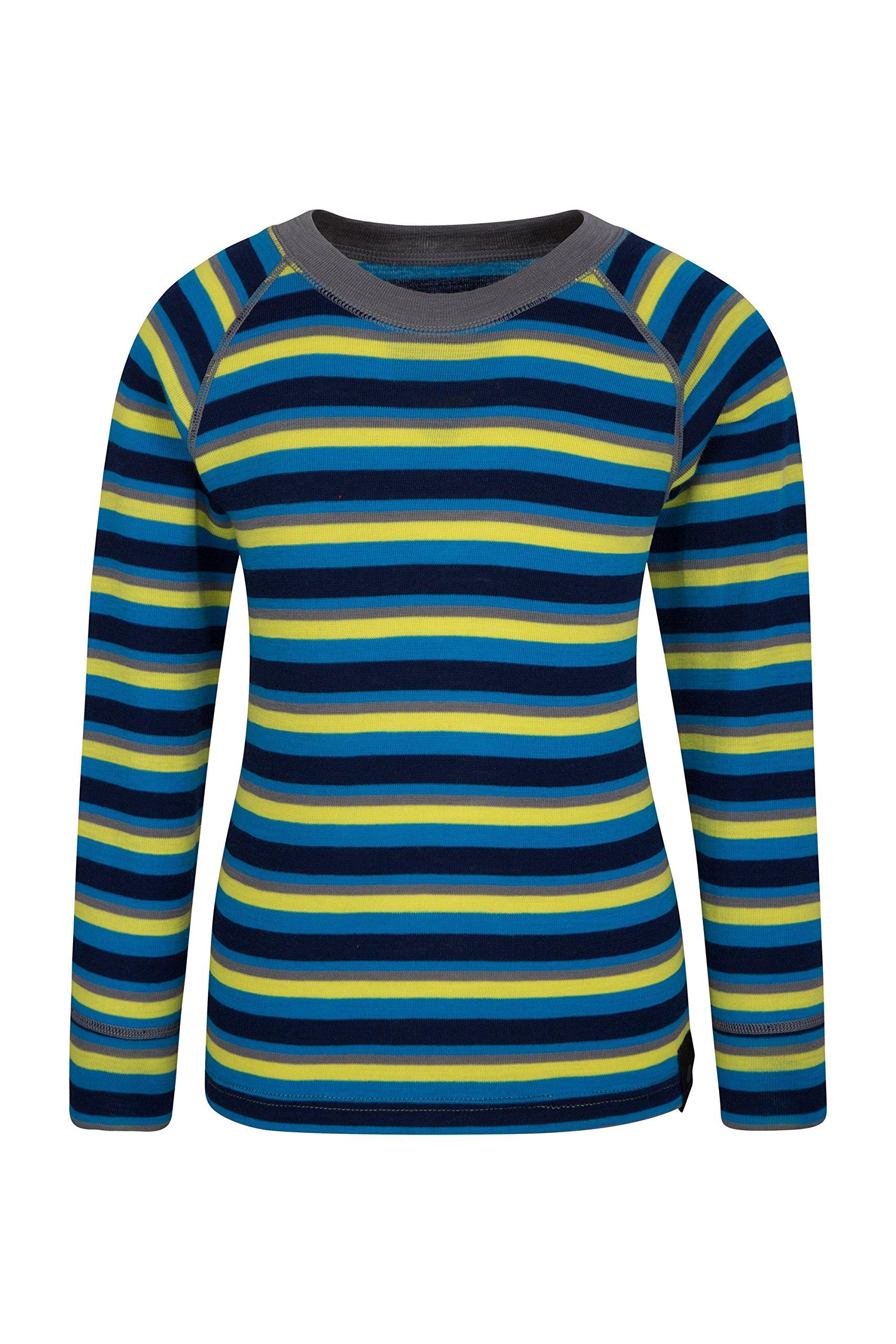 Mountain Warehouse Merino Kids Top- Breathable, Light Childrens Tshirt Blue 11-12 Years