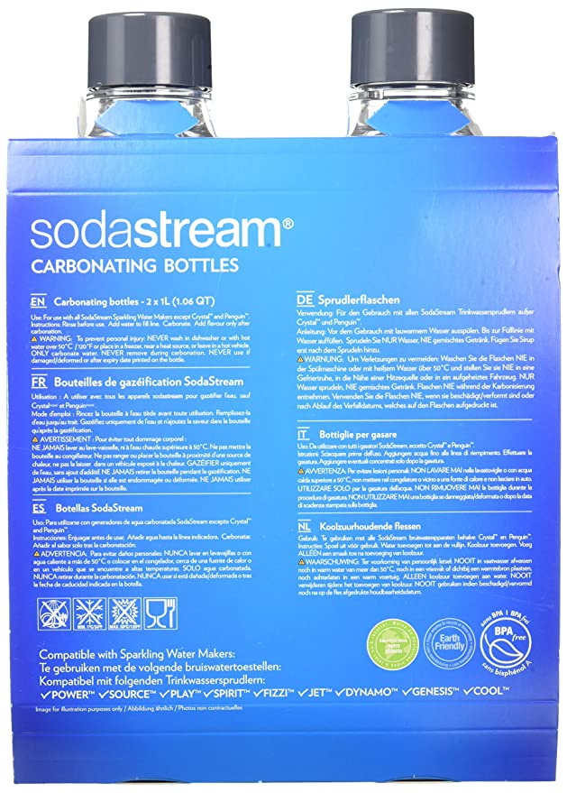 c2b108eece1 SodaStream Twinpack Carbonating Bottles 1 l grey for Sparkling Water Maker