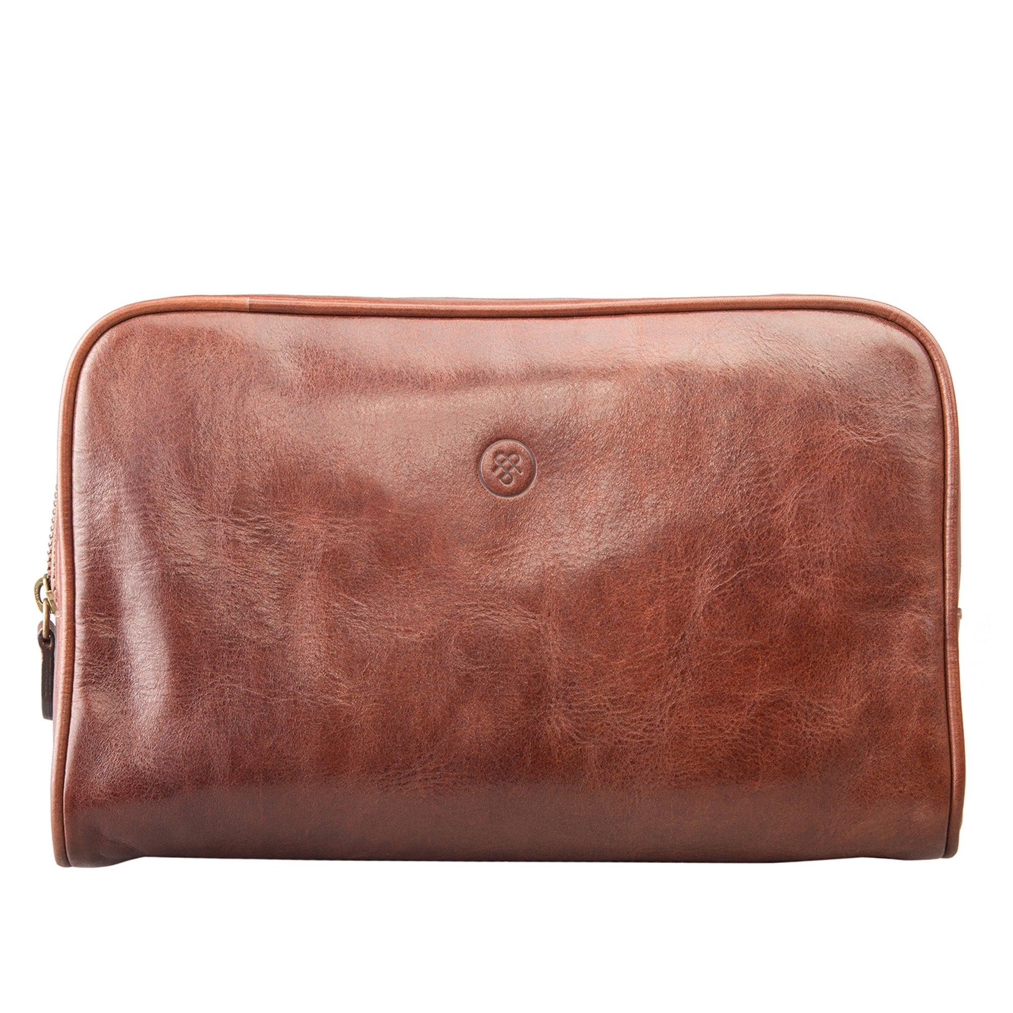 Maxwell Scott Luxury Italian Leather Washbag for Men (Raffaelle)