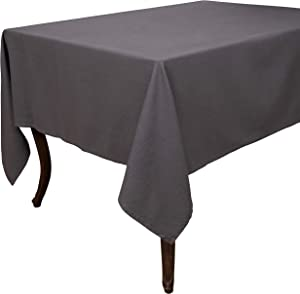 "KAF Home Washed Rustic Table Linens | Perfect for Entertaining and Everyday Dining (70"" x 70"" Tablecloth, Gray)"