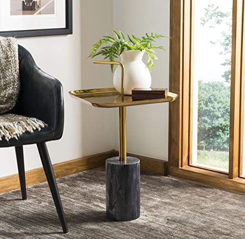 Safavieh Home Artemis Brass Handle and Black Marble Side Table