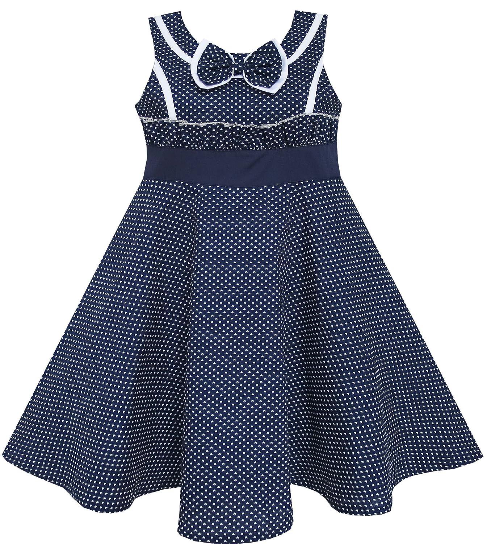 Sunny Fashion Girls Dress Bow Tie Heart Print Sleeveless Blue