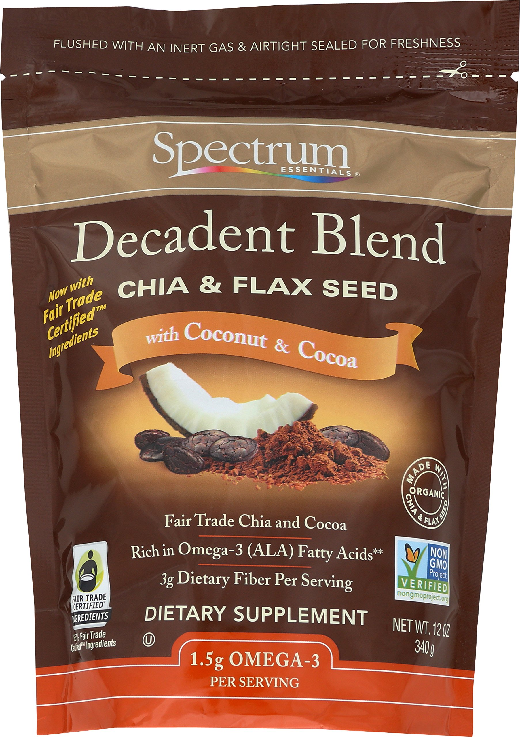 Spectrum Essentials Decadent Blend Ground Chia & Flax Seeds, 12 Ounce