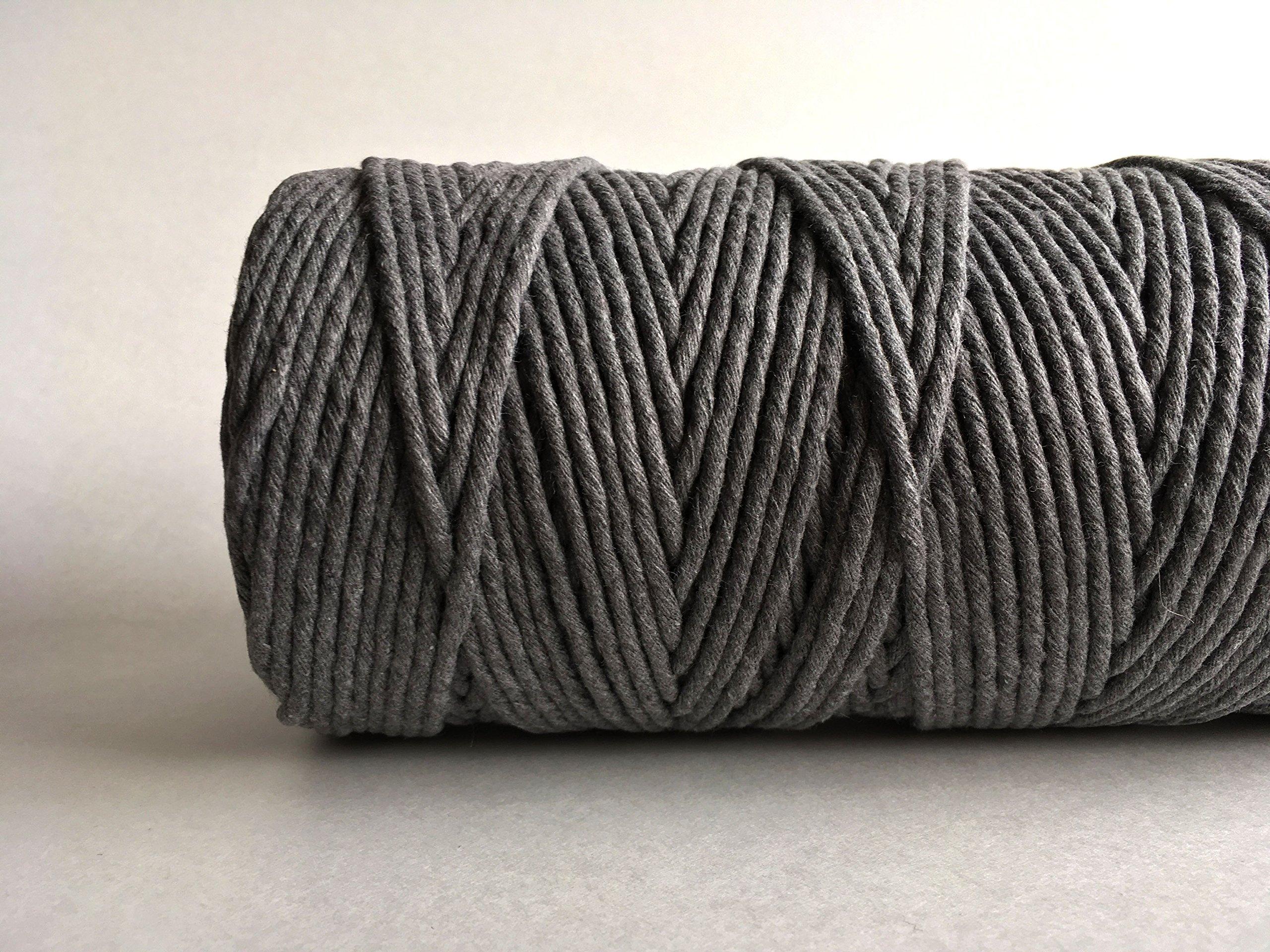 Gray Macrame Cord / 4mm Single Strand Cotton Fiber Art Rope/Earl Gray/Charcoal by Rock Mountain Co (Image #2)
