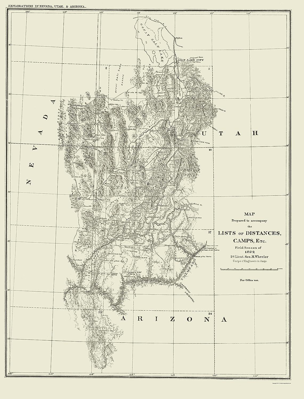 Amazon.com: Topographical Map - Nevada, Utah, Arizona Utah ...