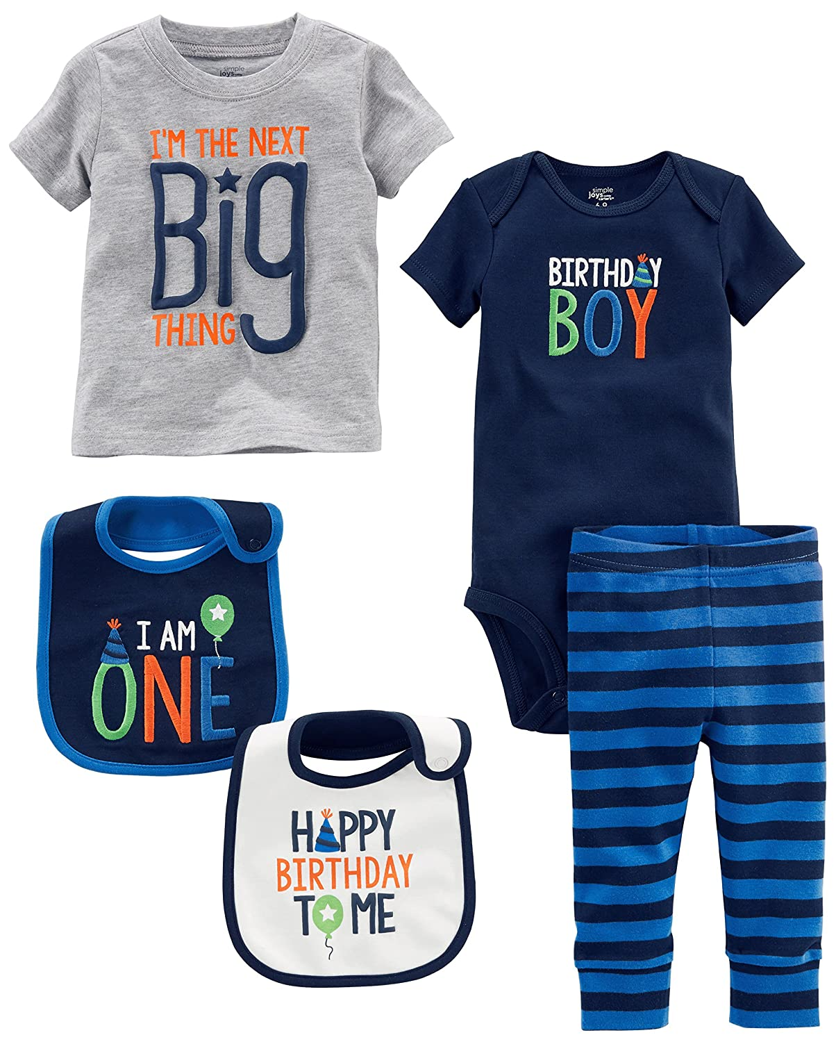 Amazon Simple Joys By Carters Baby Boys 5 Piecemy 1st Birthday Set Blue Boy 6 9 Months Clothing