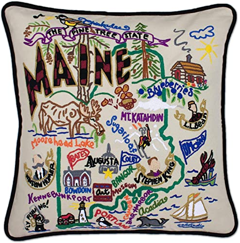 Catstudio Maine Embroidered Decorative Throw Pillow