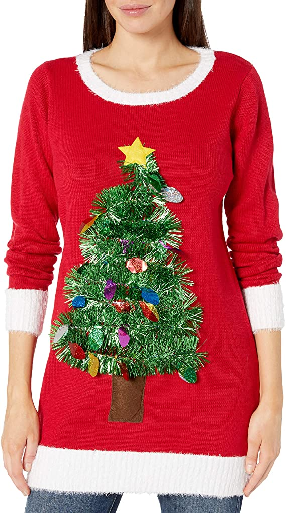 Women's Christmas Sweater Ugly Pullover Christmas Tree with Ornaments Tacky Christmas Sweaters for Parties