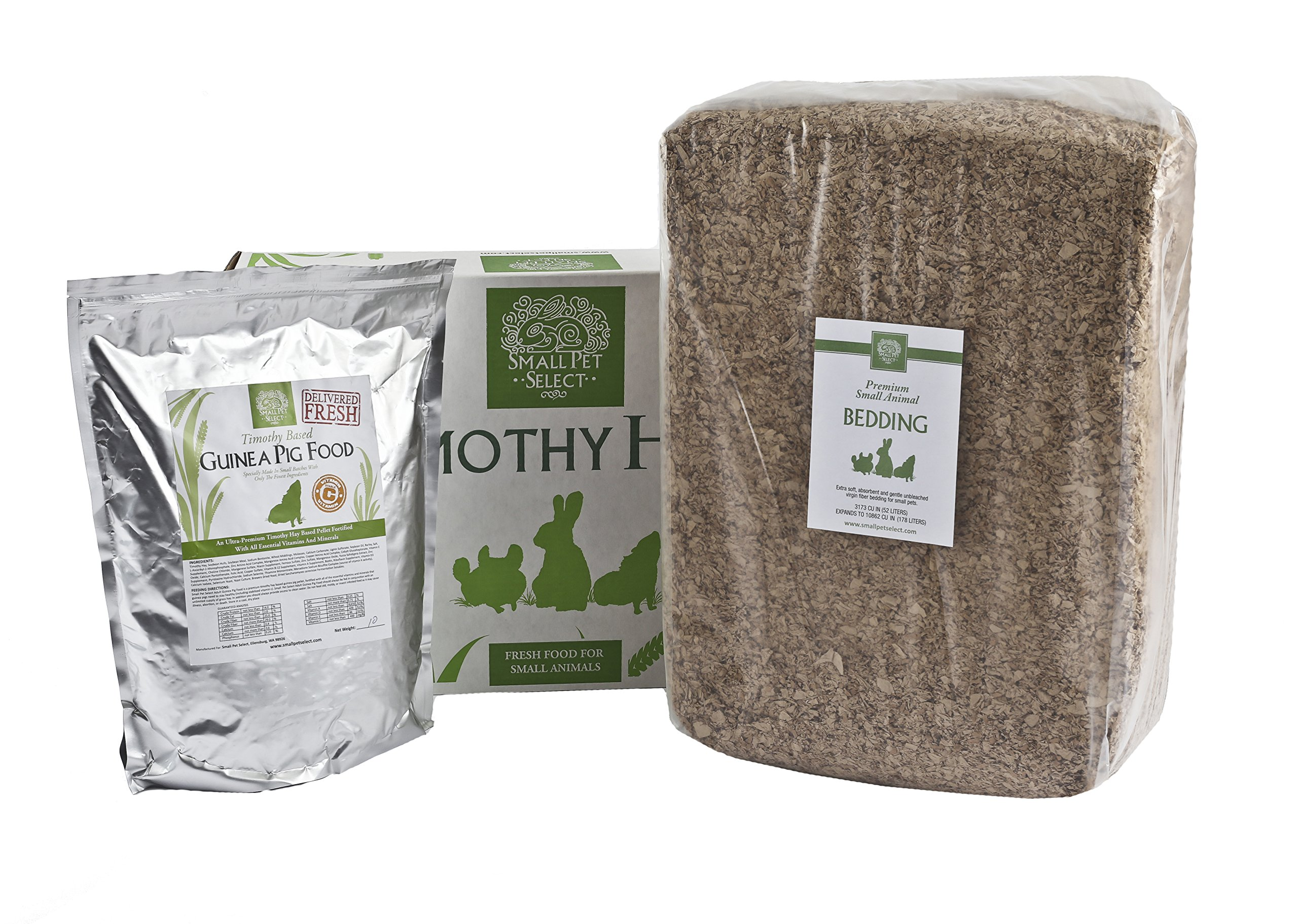 Small Pet Select Deluxe Combo Pack: Timothy Hay (10 Lb.), Guinea Pig Food (5 Lb.), Bedding (178L)