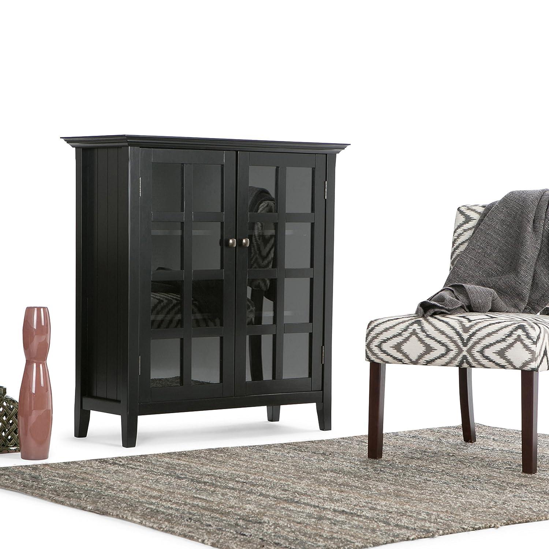 Amazon.com: Simpli Home Acadian Medium Storage Cabinet, Black ...