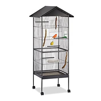Relaxdays Jaula Pájaro Grande con Ruedas, Metal, Negro, 155 x 64 x 66 cm: Amazon.es: Productos para mascotas