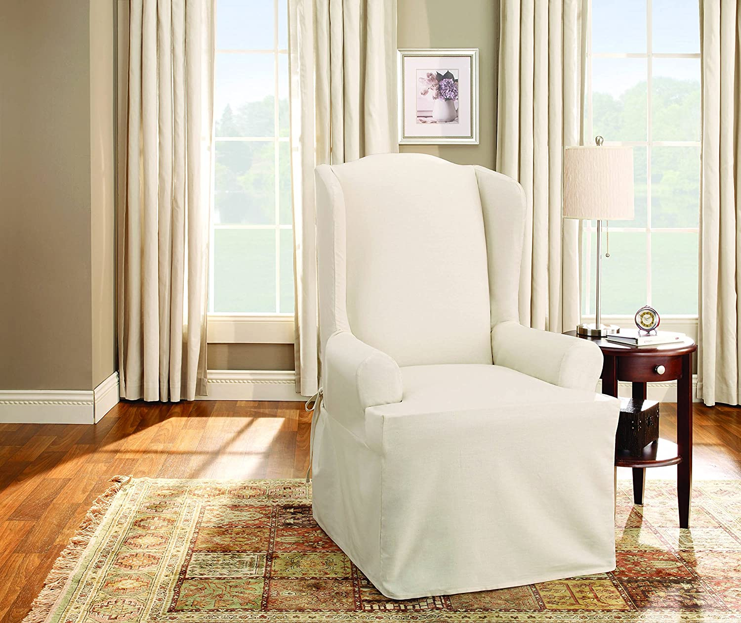 Amazoncom Sure Fit Duck Solid Wing Chair Slipcover Natural