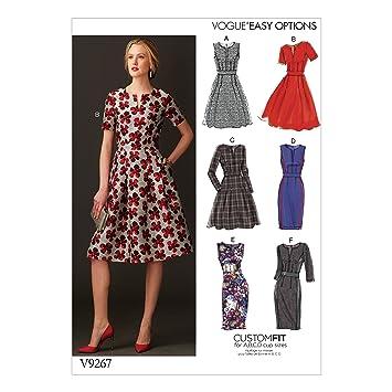 Vogue Patterns Schnittmuster Kleid, Mehrfarbig, Größe 14–22: Amazon ...