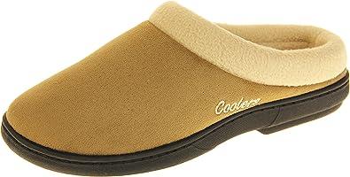 Womens Ladies Mule Slippers Brown Fleece Warm Lined Padded Slip On Coolers