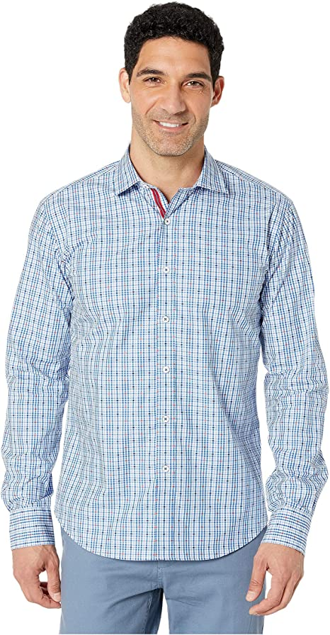 Bugatchi Mens Long Sleeve Fitted Check Jacquard Cotton Shirt