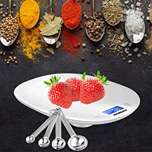 SOVARCATE – Large Digital Kitchen Food Scale – Measuring Food Portions – LCD Back-lit Digital Diet Scale 1g-10kg Accurate Fitness Cooking Scale – g/oz./lb./ml – Professional Baking Scale