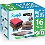 SimpliHome 16 Pack Extra Jumbo Storage Travel Space Saver Bags, Work w/ Any Vacuum Cleaner