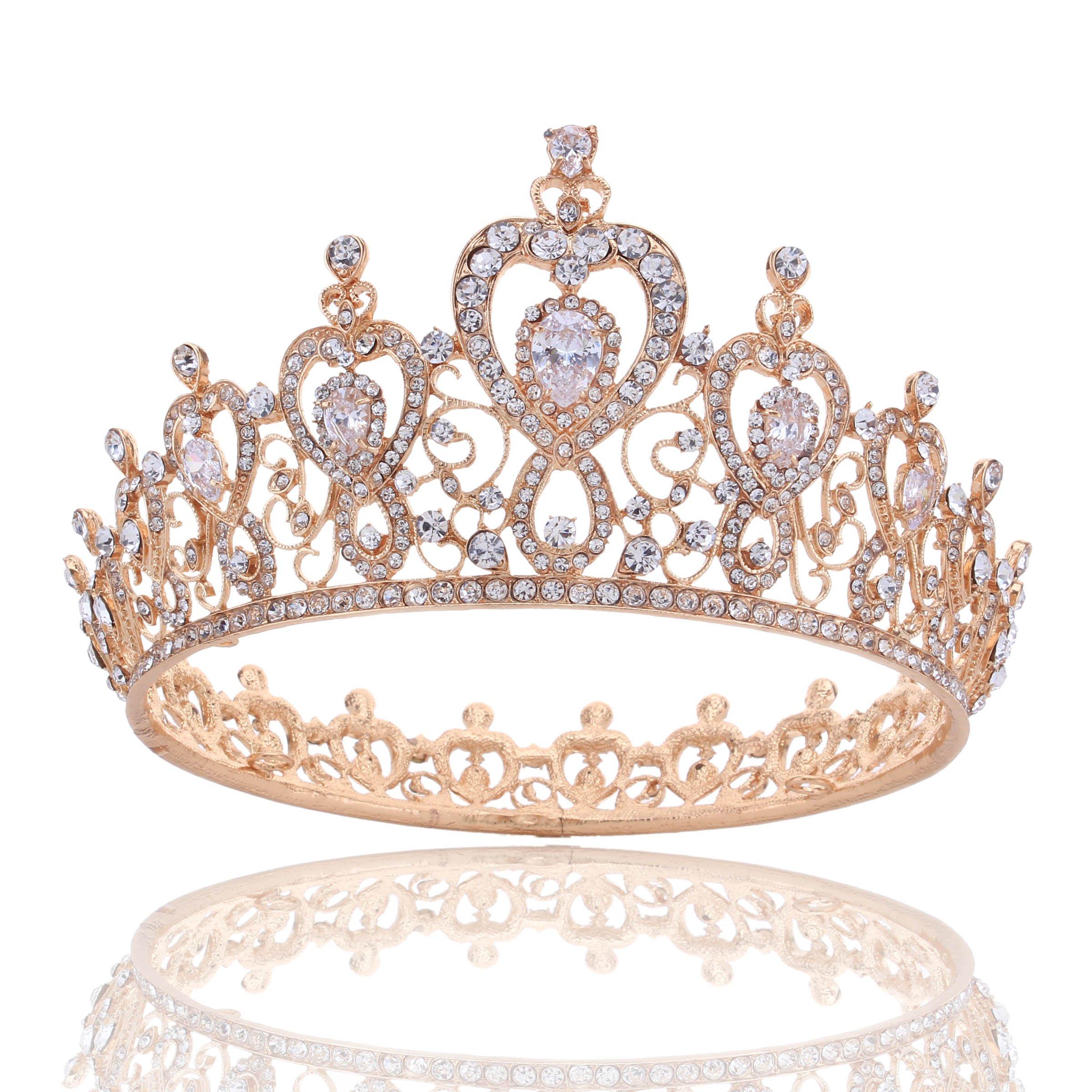 Stuff Crystal Zircon Bridal Tiara Crown Wedding Bride Princess Full Crown (A Style Gold)