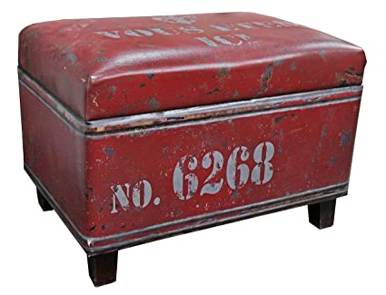 Fine Nach Fj 14 1042R Rectangular Industrial Faux Leather Storage Stool And Ottoman Red Cjindustries Chair Design For Home Cjindustriesco