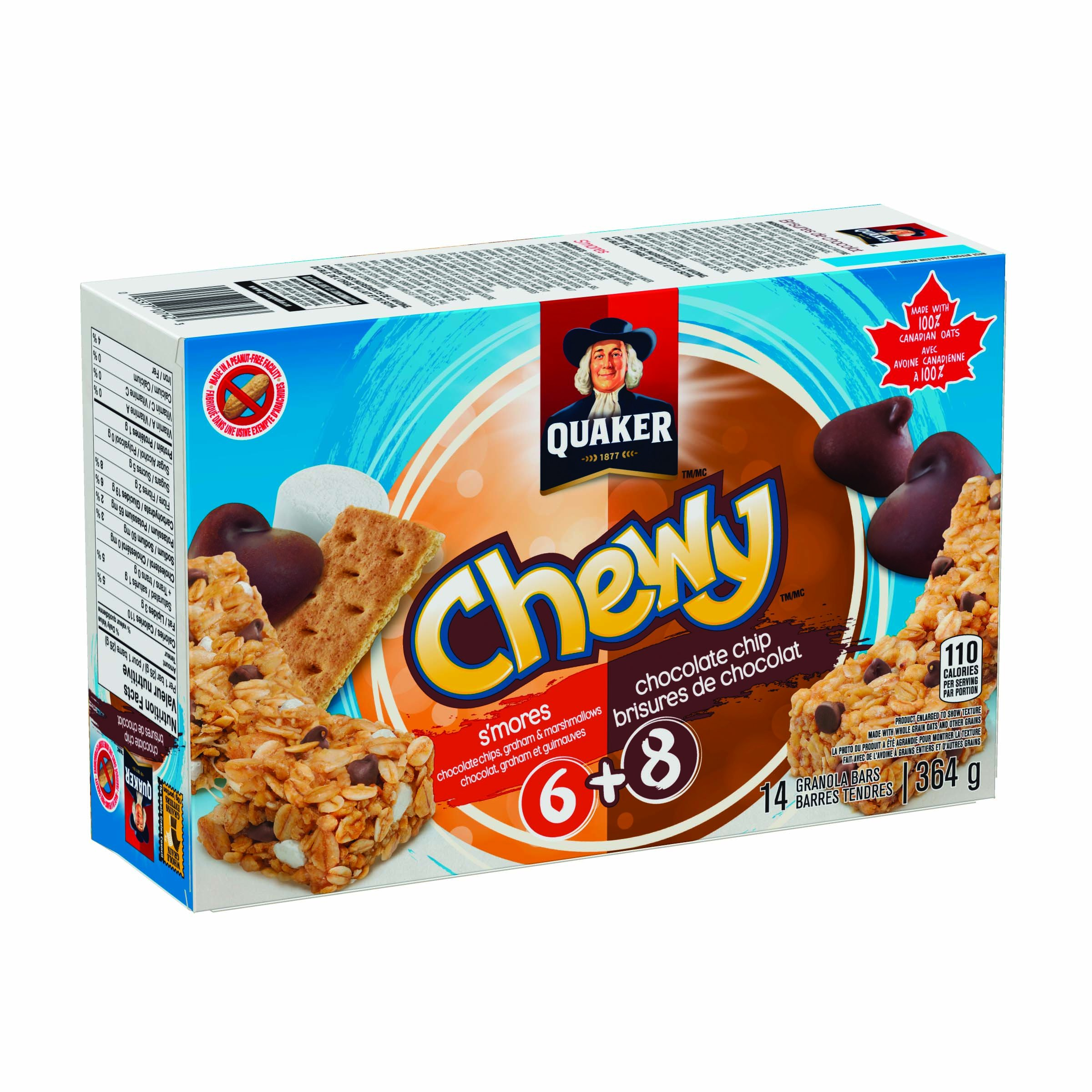 Quaker Chewy Chocolate Chip and Smores Value Pack 6 Smores Plus 8 Chocolate Chip 364 Grams/12.83 Ounces {Imported from Canada} Value Pack (Pack of 12) by Quaker