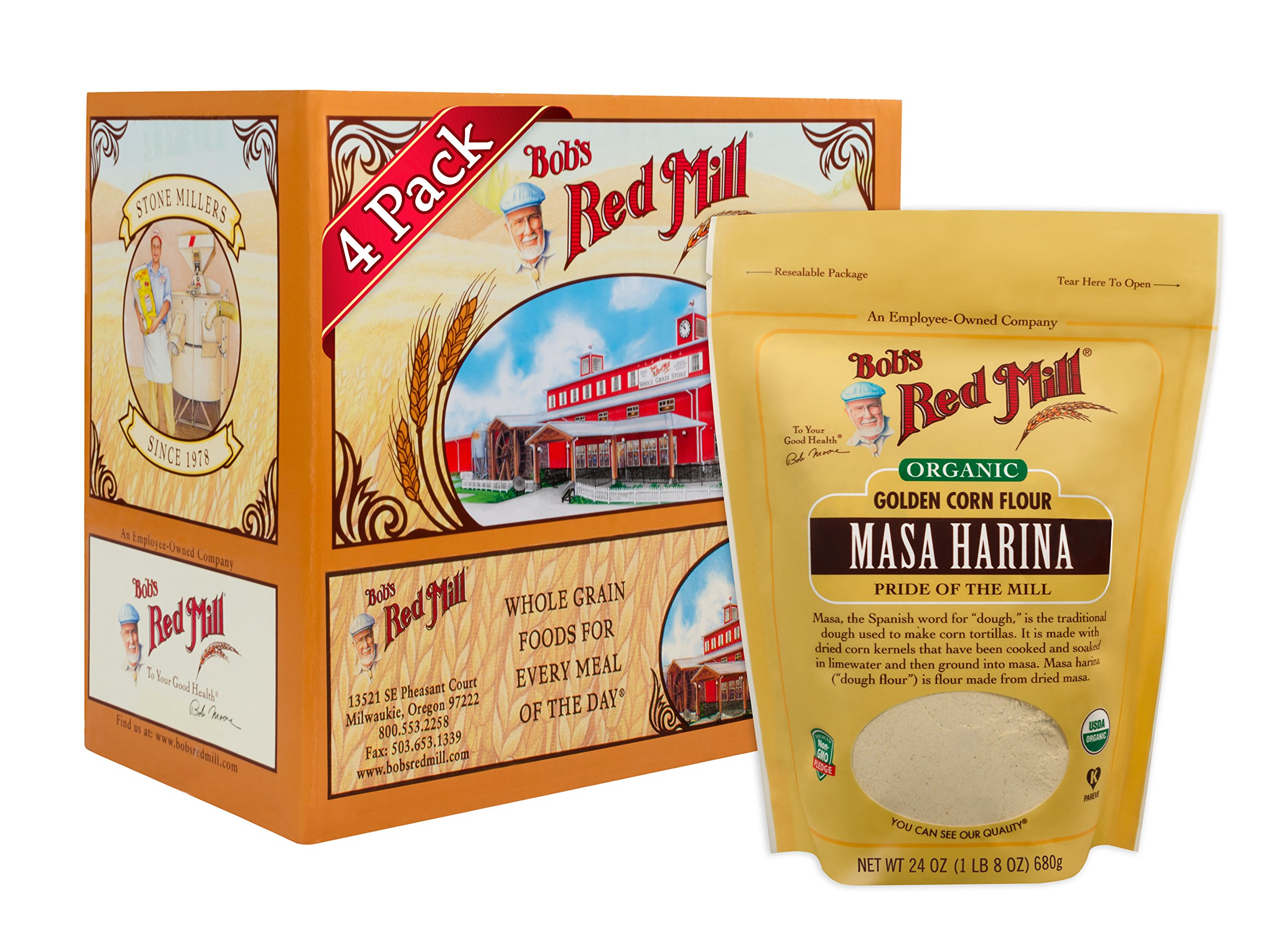 Bob's Red Mill Organic Masa Harina Flour, 24-ounce (Pack of 4)