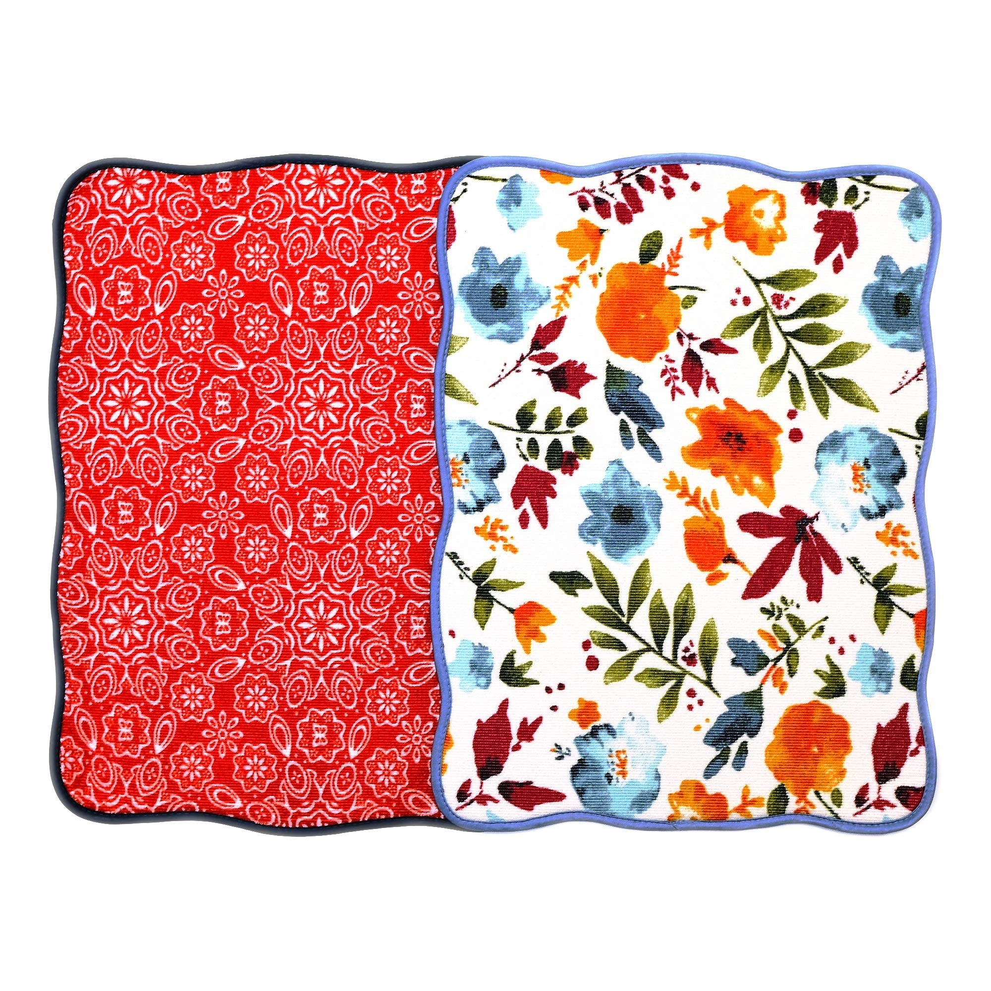 Microfiber Dish Drying Mat 15''x20'' Florals Printing Best for Home & Kitchen By Bear Family- Pack of 2 (C)