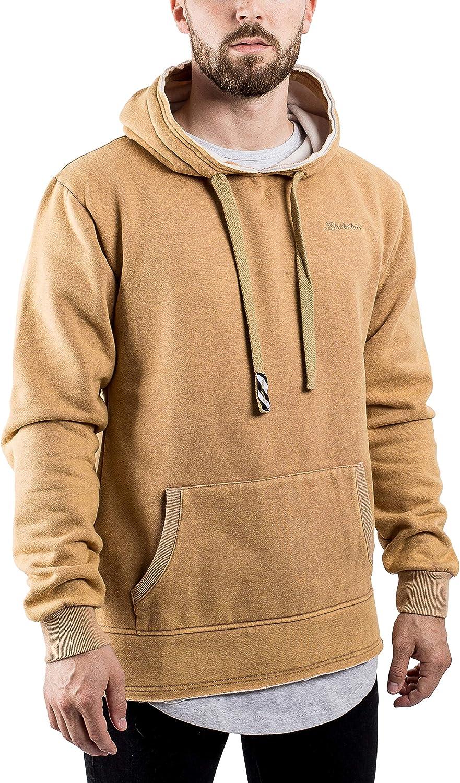 Blackskies Acid Wash Herren Hoodie | Langer Streetwear Fleece Pullover Oversize Sweater Sweatshirt Kapuze - Schwarz Acid Wash Beige