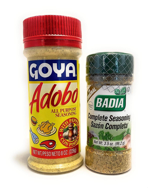 Amazon Com Goya Adobo All Purpose Seasoning And Badia Complete Seasoning Bundle One Unit Of Each Grocery Gourmet Food