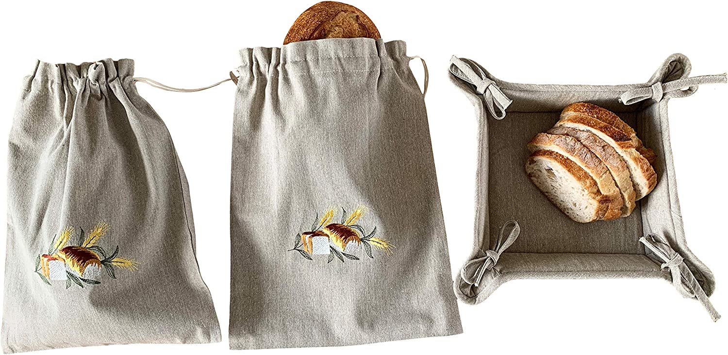Cotton Cloth Bread Bags for Artisan Homemade Bread – Reusable Food Storage - Large Drawstring Bread Bags and Bread Serving Basket - Embroidered Set of 3 (Rustic Country - Sliced Loaf)