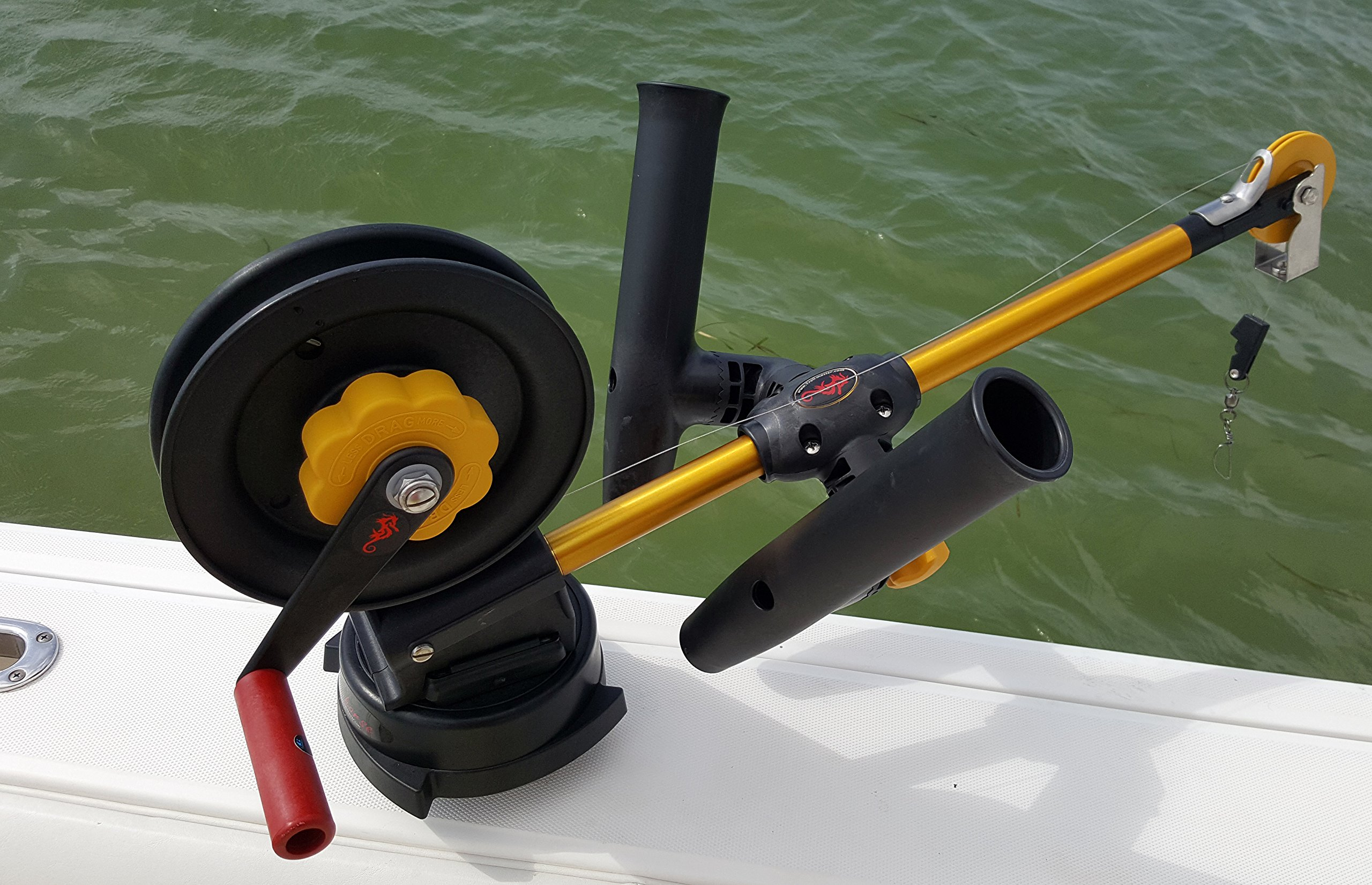 Seahorse Adjustable Dual clamp-on Rod holder Fits Penn and Cannon Downrigger Booms